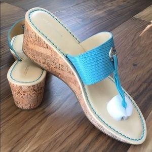 Liz Claiborne Cork Wedge Sandals Sky Blue Silver